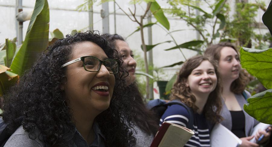 Students explore the Global Flora Collection at the Wellesley College Margaret C. Ferguson Greenhouses