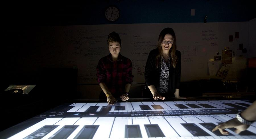 Two Wellesley College students work in the Human-Computer Interaction Laboratory