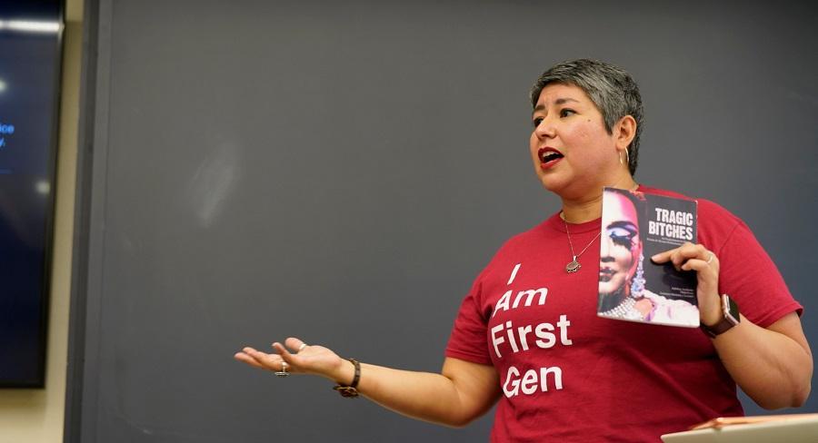 Barbara Morris Caspersen Associate Professor of Humanities and Associate Professor of Women's and Gender Studies, Irene Mata, speaks to her classroom