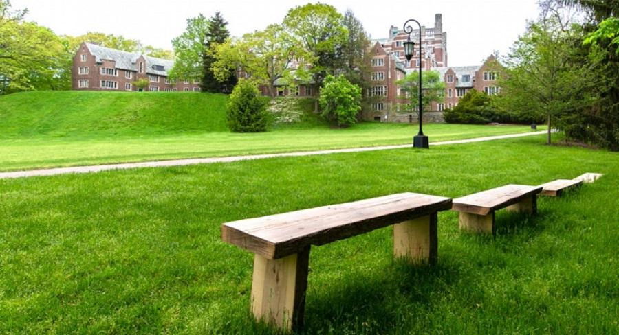 Two wooden benches, constructed by students as part of The Paulson Ecology of Place Initiative, overlook Severance Green