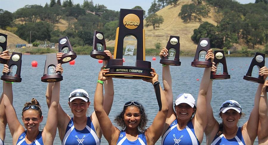 Wellesley College Crew team poses for a photo after winning the NCAA DIII National Rowing Championship